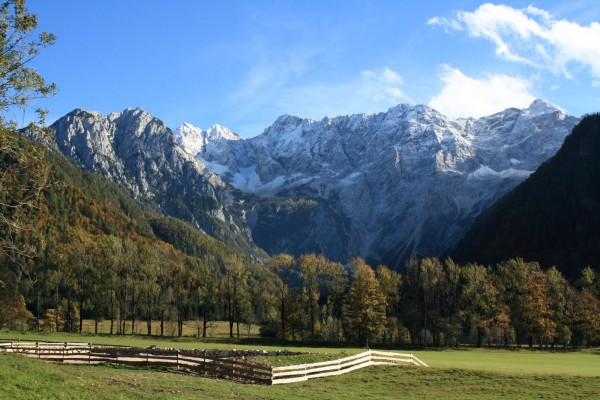 "North side of Kamnik-Savinja Alps with ""Ledenik pod Skuto"" glacier and the highest peak Grintovec 2558 m at right"
